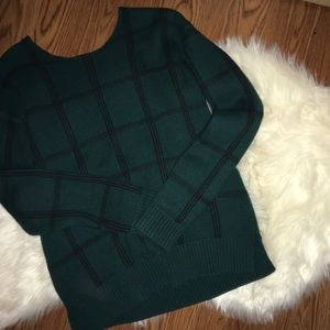 Green Panel Thick Sweater